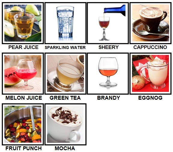 100 Pics Drinks Level 31-40 Answers