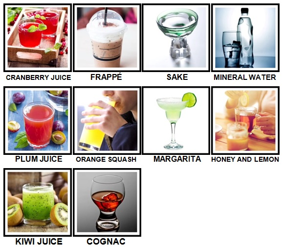 100 Pics Drinks Level 41-50 Answers
