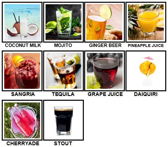 100 Pics Drinks Level 51-60 Answers