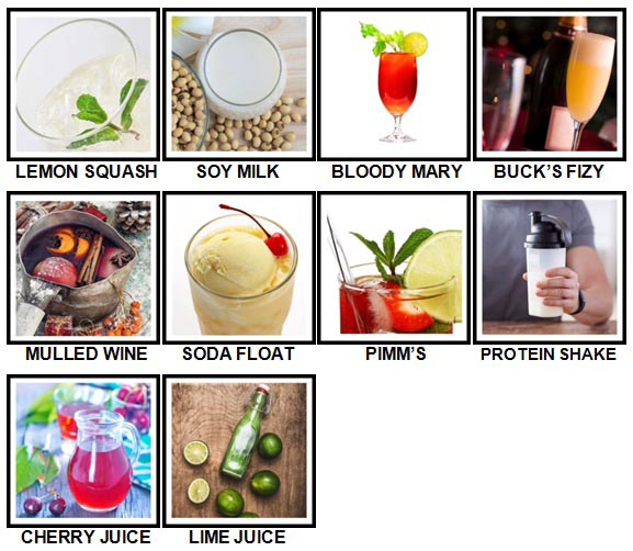 100 Pics Drinks Level 61-70 Answers