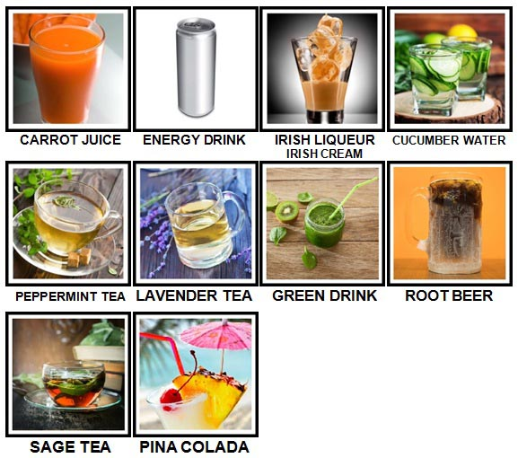 100 Pics Drinks Level 71-80 Answers