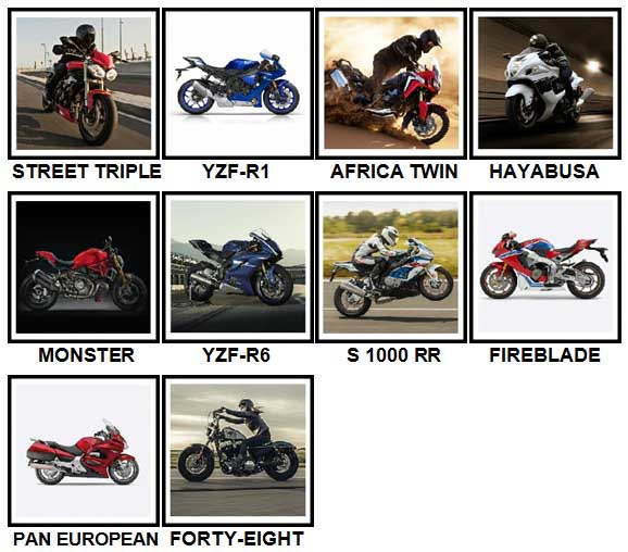100 Pics Motorcycles Answers Level 1-10