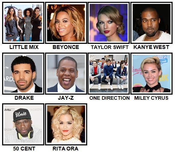 100 Pics Music Stars 2 Answers Level 1-10