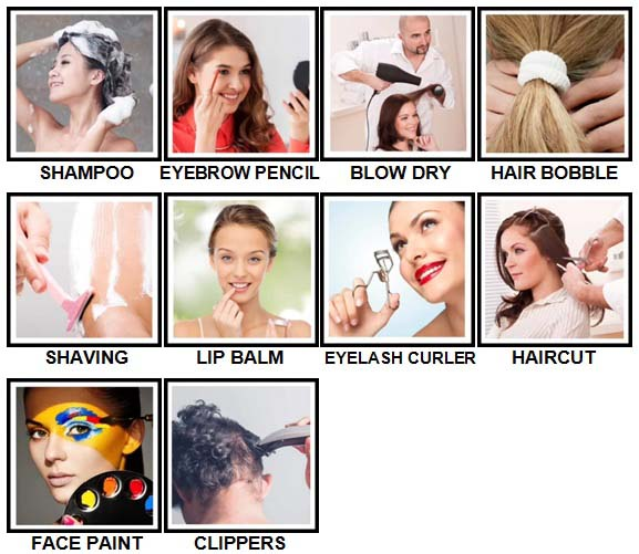 100 Pics Hair and Make Up Level 21-30 Answers