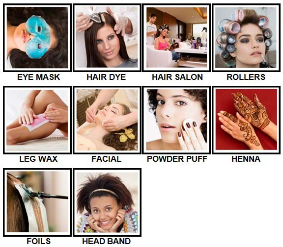 100 Pics Hair and Make Up Level 31-40 Answers