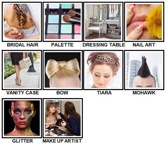 100 Pics Hair and Make Up Level 51-60 Answers