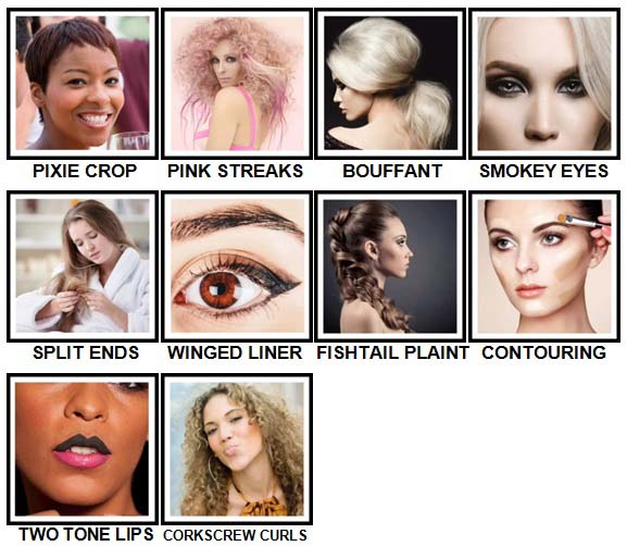 100 Pics Hair and Make Up Level 81-90 Answers
