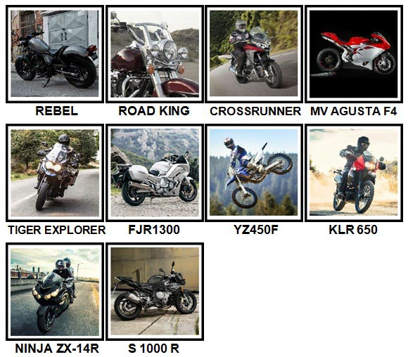 100 Pics Motorcycles Level 31-40 Answers