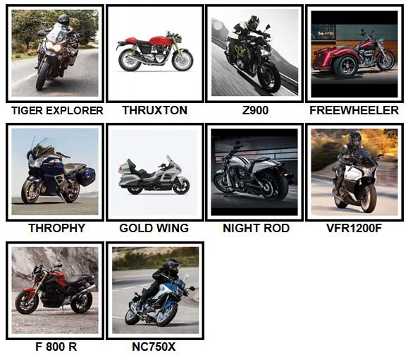 100 Pics Motorcycles Level 51-60 Answers