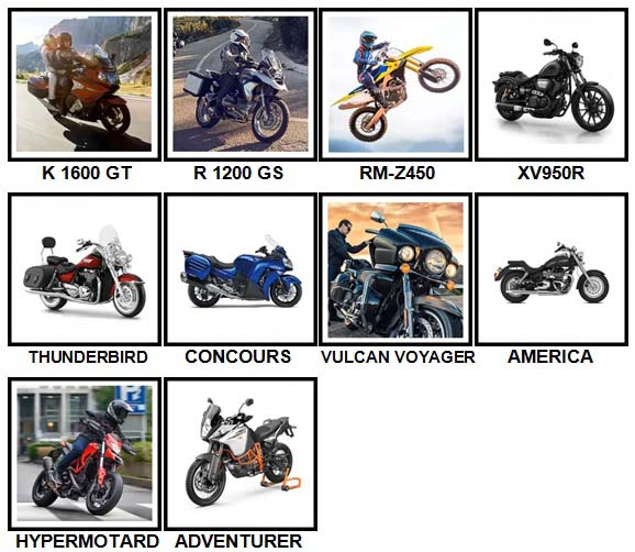 100 Pics Motorcycles Level 61-70 Answers