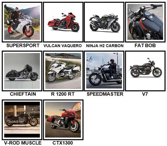100 Pics Motorcycles Level 81-90 Answers