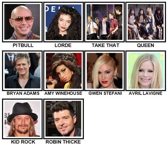 100 Pics Music Stars 2 Level 21-30 Answers