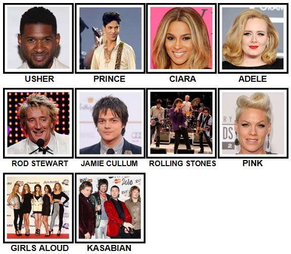 100 Pics Music Stars 2 Level 31-40 Answers