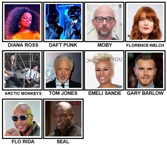 100 Pics Music Stars 2 Level 41-50 Answers