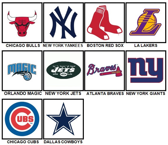 100 Pics Sports Logos Level 1-10 Answers