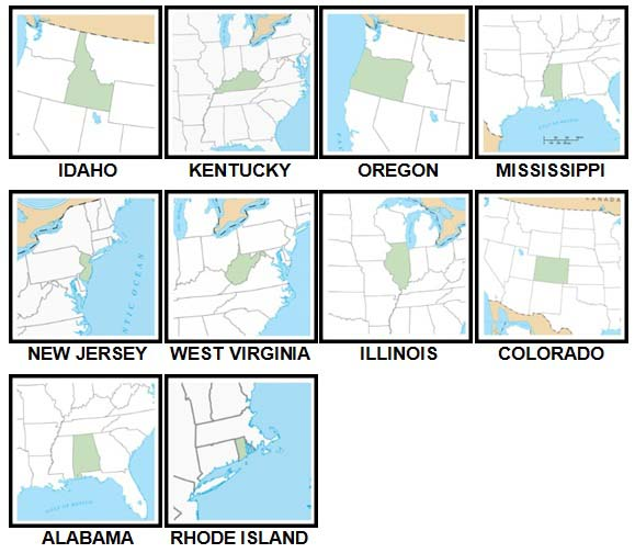 100 Pics US States Level 21-30 Answers