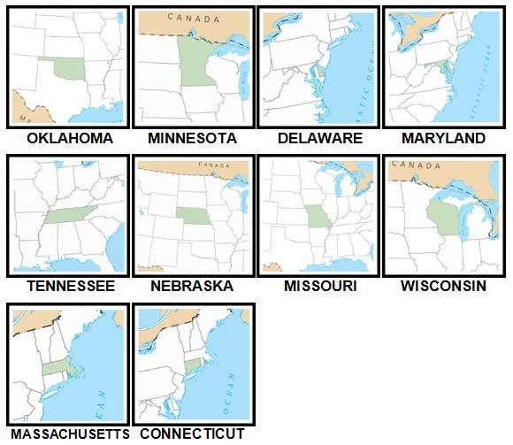 100 Pics US States Level 41-50 Answers