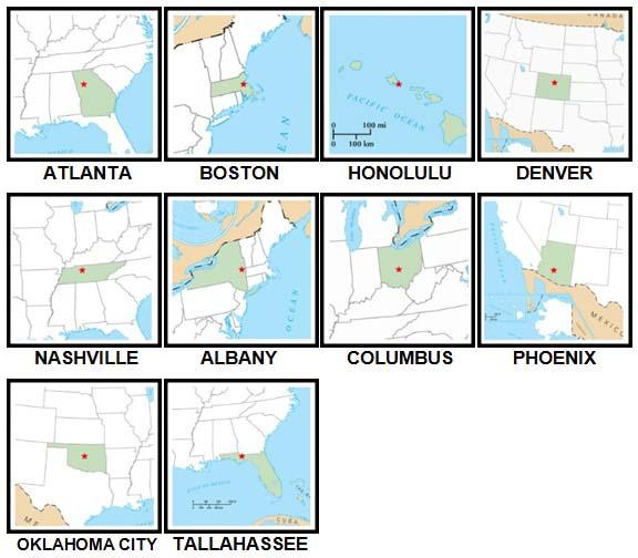 100 Pics US States Level 51-60 Answers