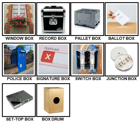 100 Pics Boxes Level 61-70 Answers