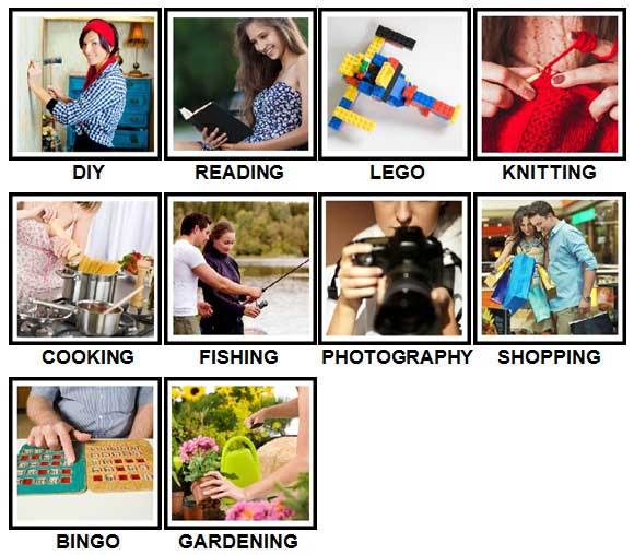 100 Pics Hobbies Answers Level 1-10
