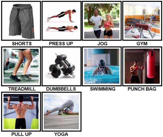 100 Pics Fitness Level 1-10 Answers