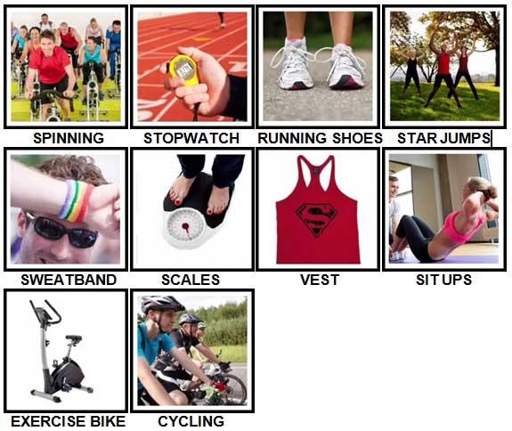100 Pics Fitness Level 11-20 Answers