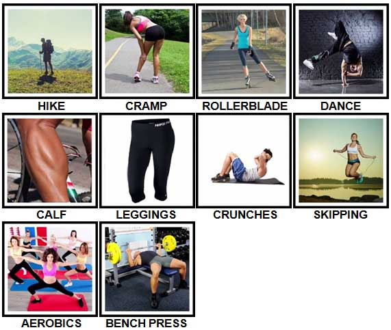 100 Pics Fitness Level 21-30 Answers