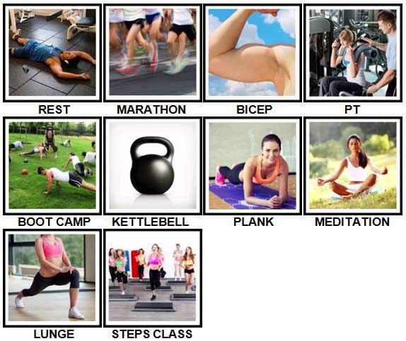 100 Pics Fitness Level 31-40 Answers