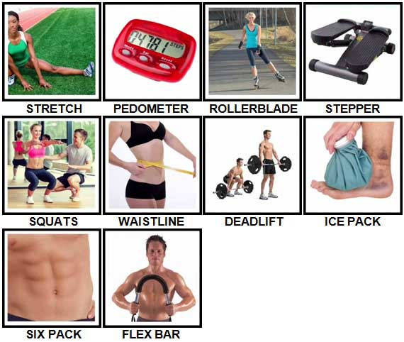 100 Pics Fitness Level 41-50 Answers