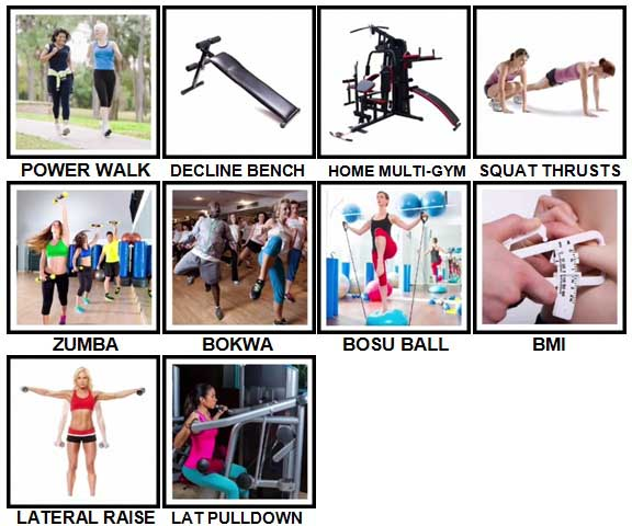 100 Pics Fitness Level 81-90 Answers