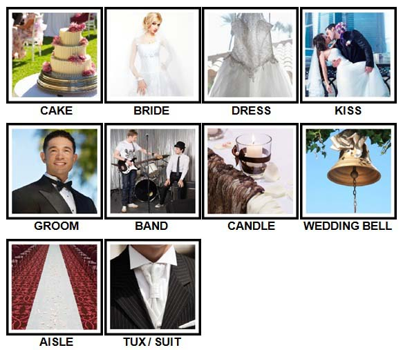 100 Pics Weddings Level 1-10 Answers