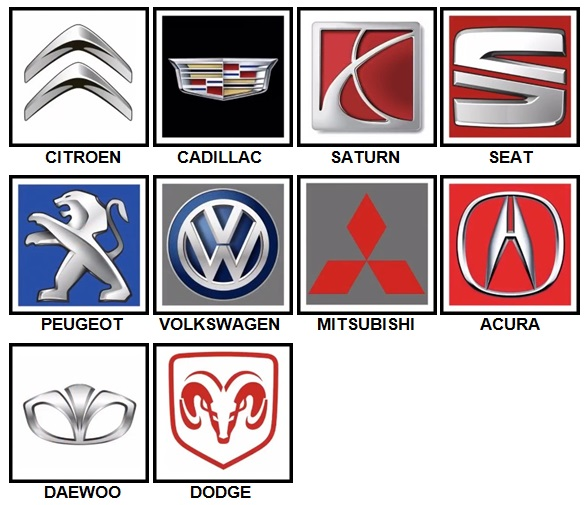 100 Pics Car Logos Level 21-30 Answers