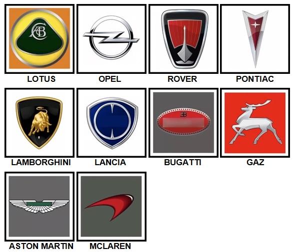 100 Pics Car Logos Level 51-60 Answers