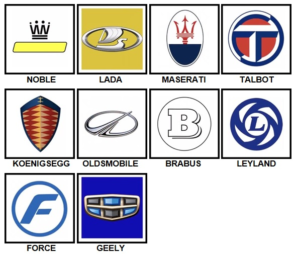 100 Pics Car Logos Level 61-70 Answers