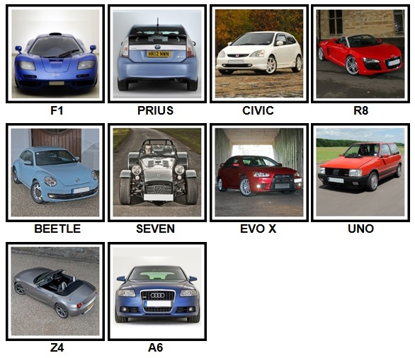 100 Pics Cars Answers Level 1-10