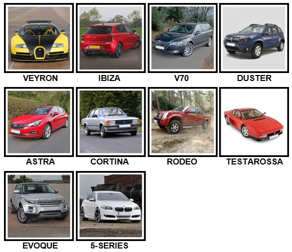 100 Pics Cars Level 31-40 Answers
