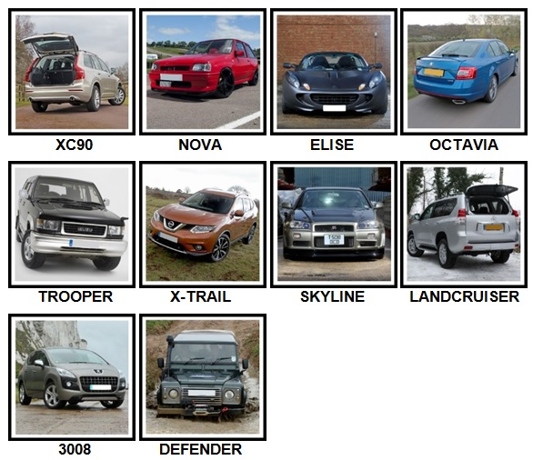 100 Pics Cars Level 51-60 Answers