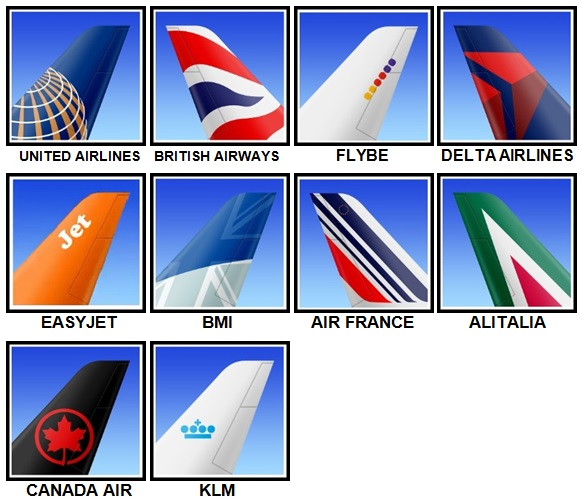 100 Pics Airlines Level 1-10 Answers