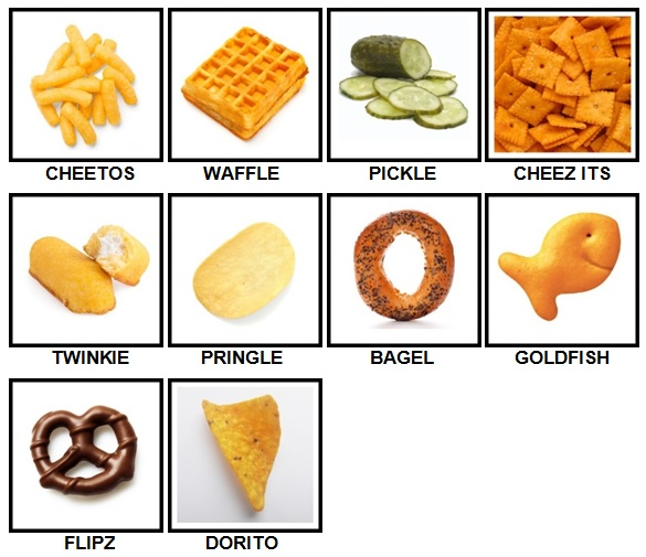 100 Pics Snacks Level 1-10 Answers