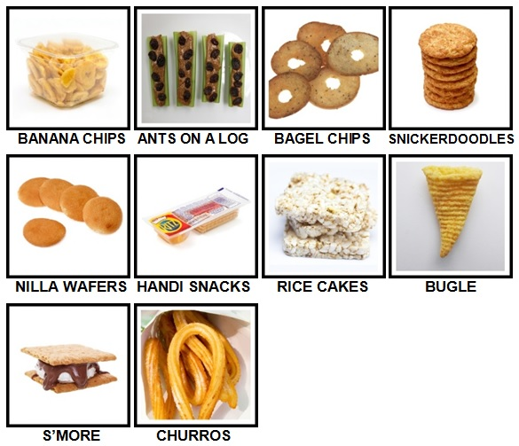 100 Pics Snacks Level 51-60 Answers