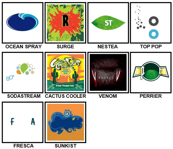 100 Pics Drink Logos Level 71-80 Answers