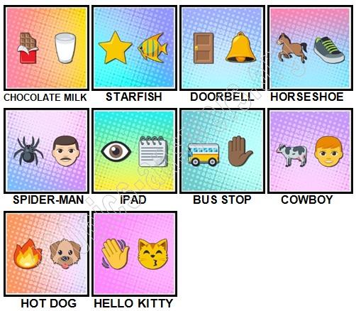100 Pics Emoji Puzzles Level 1-10 Answers