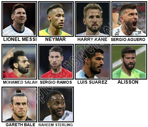 100 Pics Football Stars Level 1-10 Answers