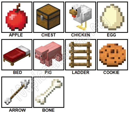 100 Pics Minecraft Level 1-10 Answers