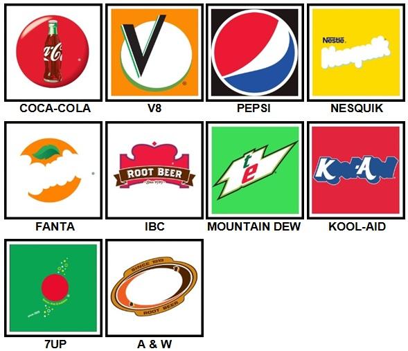 100 Pics Drink Logos Level 1-10